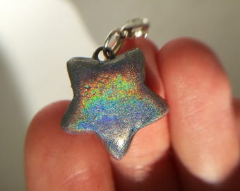 Holographic, rainbow, pigmented, polymer clay, star, fashion charm