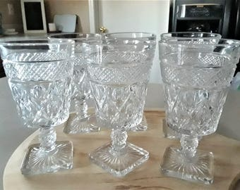 Set of 6 Imperial Glass Cape Cod Clear Wine Glasses