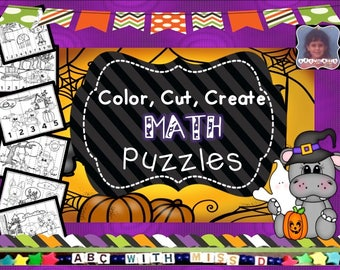 I Can Count to Ten! Halloween-themed coloring and counting game for classroom, homeschool, preschool learning. Counting and coloring puzzle