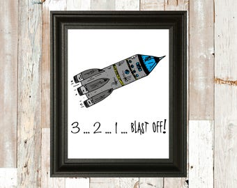 Nursery Space Theme Print - Rocket - Outer-space - Science