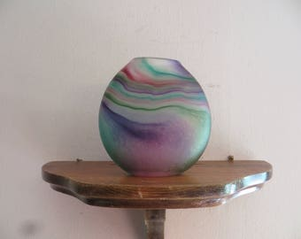 Art Glass Vase purples greens vessel w/free ship