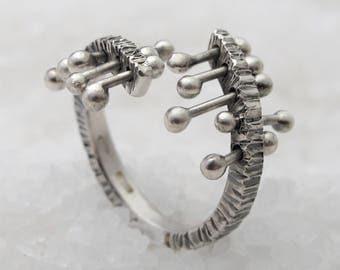 Unique oxidized silver women ring.