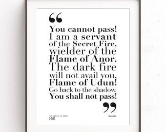 Gandalf quote. The lord of the rings. You shall not pass. Arwen and Aragorn. JRR Tolkien poster. Literary poster. The hobbit art. Middle