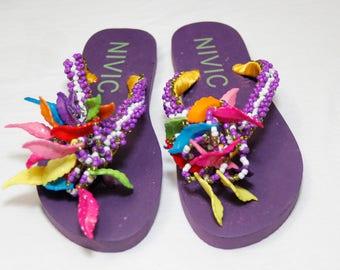 Hand Beaded Purple Slippers/Flip Flops