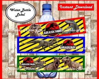 Jurassic Park Water Bottle Label, printable Jurassic Park party Water Bottle Label, Jurassic Park Bottle Labels