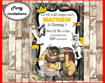 Where The Wild Things Are Invitation, printable Where The Wild Things Are Birthday Invitation,Where The Wild Things Are invitation