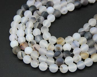 Natural Matte White Translucent Agate Beads 6mm 8mm 10mm White Gemstone Mala Beads White Gray Agate Beads Milky White Agate Beads