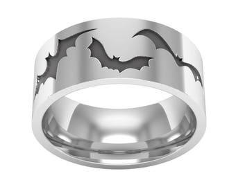 Flying Bat Band Ring, Bat Ring, Silver Band Ring, Bat Wedding Ring, Nature Ring, Gothic Jewelry, Bat Jewelry, Gothic Wedding Ring
