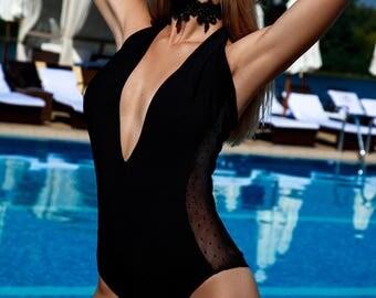 One pice black bikini with transparent design