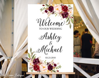 Welcome Wedding Sign, Welcome To Our Wedding Sign, Large Welcome Sign, Boho Chic Wedding Signs, Burgundy, Marsala, W-125, Digital file