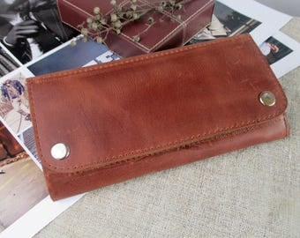 Leather minimalist wallet Womens long wallet Brown leather purse zipper pocket card holder leather accessories
