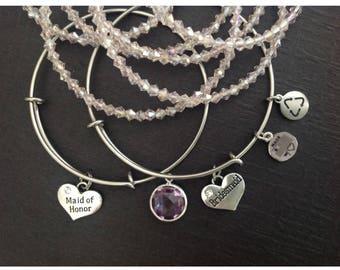 Bridesmaid Bracelet, Maid of Honor Bracelet, Personalized Bridesmaid Charm Bracelet, Silver charm, Wedding, Bangle, Expandable Bangle