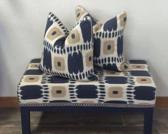 Upholstered Bench, Schumacher Fabrics, Kandira Indigo, Ikat, Tufted Bench, Parson Bench, Blue Bench, Ottoman, Stool