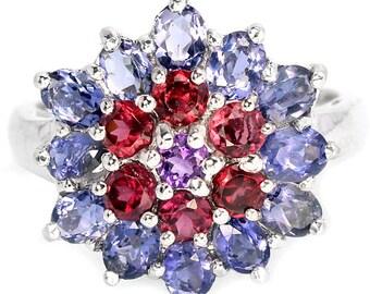 Natural AAA Iolite, Rhodolite, Garnet, Amethyst Sterling 925 Silver Flower Ring 14K White Gold Coating