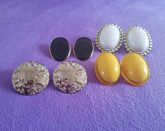 Totally 80s/Victorian - Retro Stud Earrings - Sunshine Yellow, Black and White Large Oval/Geometric Studs! Large Silver Greek Theme Studs!