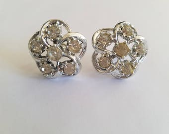 Classically Elegant! Vintage 1950's/1960's Floral Rhinestone Screw Back Stud Earrings - Beautiful and Antique - Wonderful Vintage Condition!