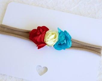 Red , white, and blue flower headband/ Baby headband/ 4th of July headband/ patriotic headband/ flower headband/ newborn photo prop headband