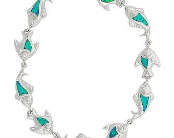 Blue Opal Sterling Silver Fish Charm Bracelet