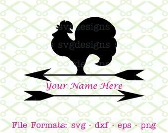 Weathervane Rooster SVG, Split Monogram Frame SVG, Dxf, Eps, & Png. Digital Cut Files for Cricut, Silhouette; Country Svg, Weather Vane Svg