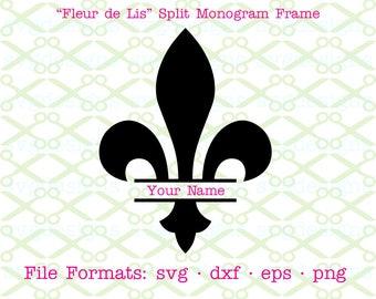 FLeur de Lis Svg, Split Monogram Frame SVG, Dxf, Eps, Png. Digital Cut Files for Cricut, Silhouette; Mardi Gras Svg, French Monogram Frame