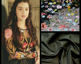 Custom Made Reign Mary Tudor Black Floral Flower Embroidered Lace and Taffeta Elizabethan Gown