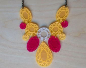Colourful faux-diamond necklace - yellow and pink, multi-coloured statement necklace