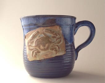 9 oz. Bright Blue Crab Ceramic Mug, Wheel thrown Unique Gift