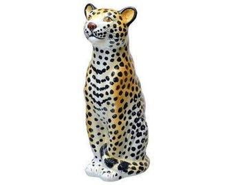 Vintage ceramic leopard - vintage cheetah figure made in italy - vintage ceramic figure - vintage animal sculpture - mid century modern