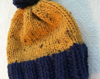 Yellow and Blue Winter Hat (Hand Knit)