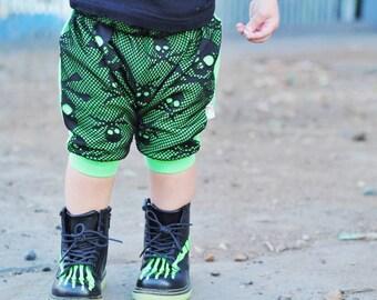 Mesh Skull Harem Joggers Pants Blue Black White Neon Coral Halloween Rock Punk Boy Girl Baby Toddler Stripes Grunge Monochrome