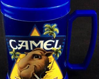 Joe Camel Thermo Serv Insulated Mug - Camel Cigarettes 75th Birthday 90s collectible