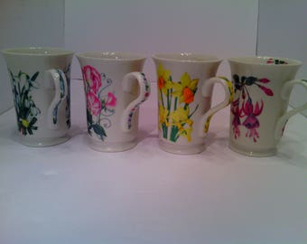 Set of 4 Ceramic Colorful Botanical/ Wildflower Coffee or Tea Cups