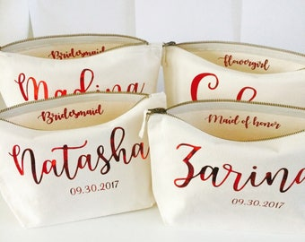 Bridesmaid makeup bag wedding gift bags personalised makeup bag cosmetic bag