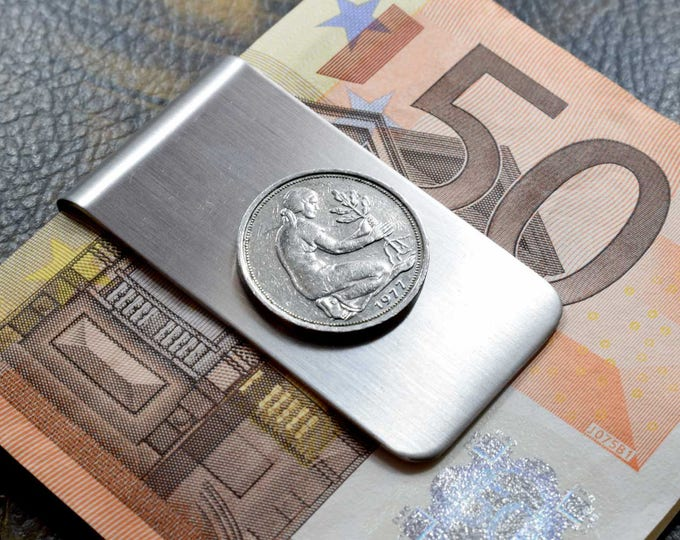 50 Pfennig 1977, Coin Money Clip, Germany 1977, 40th Birthday Gift, 40th Anniversary Gift, German Money Clip, German Coin Gift, Pfennig 1977