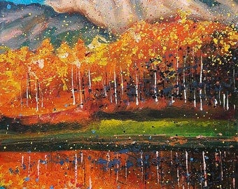 Original Oil Painting Reflection of mountains Autumn trees Sunset Abstraction of nature Original style painting Warm tones READY TO HANG