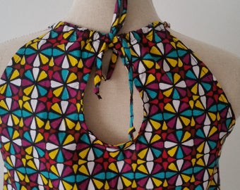 Wax printed geometric neckline back blouse