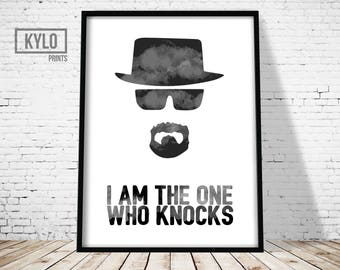 Breaking Bad Heisenberg Print, I Am The One Who Knocks, Pop Culture tv show fan art, Graphic Design Illustration, Typography, Walter White