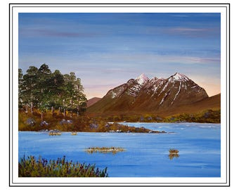 "Original acrylic painting of Liathach, Torridon, Scottish Highlands,  painting size is 15"" x 12"" , Mount Size 500mm x 400mm sold unframed."