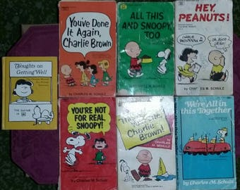 Vintage Charlie Brown Books. Peanuts Books. Snoopy Books.