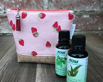 Mini Essential Oil Pouch / Strawberry Essential Oil bag / Carrier