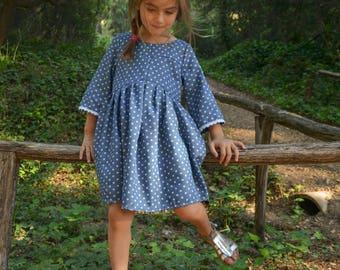 Polka dot Sunday dress,denim dress,blue jean dress,jean dress,polka dot dress,party dress,girls dress,bithday outfit,bohemian dress