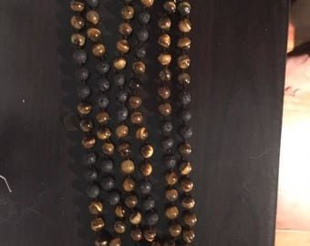 Natural Gemstone 108 Bead 8mm Mala / Prayer Beads / Necklace - Tiger's Eye, Lava