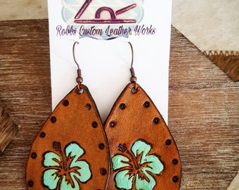 Leather drop hibiscus earrings