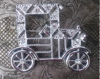 Vintage car brooch Model T car, automobile brooch, silvertone rhinestone car