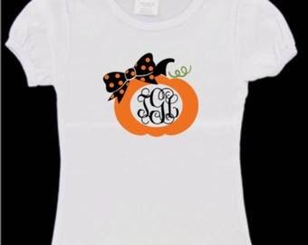 pumpkin monogram shirt, girls pumpkin monogram shirt, girls pumpkin shirt, custom pumpkin shirt, girls fall shirt