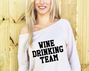 Wine Drinking Team, Wine Drinking Shirt, Wine Drinking Team Shirt, Slouchy Shirt, Mimosas and Mistletoe, Slouchy Sweatshirt, Hoodie