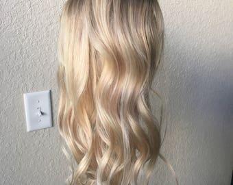 Balayage extensions etsy natural blonde balayage clip in hair extensions human hair extensions balayage hair blonde pmusecretfo Images