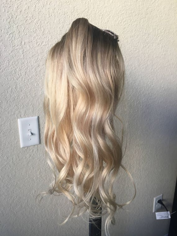 Natural blonde balayage clip in hair extensions human hair like this item pmusecretfo Image collections