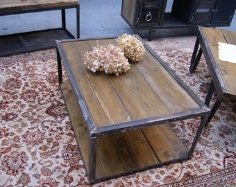 Industrial style coffee table wood and steel