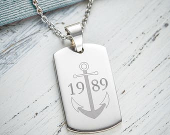 Engraved Dog Tag Necklace - Anchor - Customised with Year or Initials - High Quality Stainless Steel - Gift for Men - Gift for Boyfriends